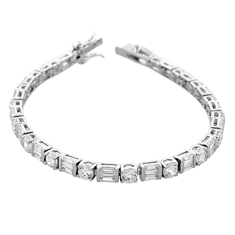925 Sterling Silver Round Baguette White Clear CZ Classic Tennis Bracelet