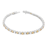 925 Sterling Silver Round White Cognac Chocolate Brown CZ Classic Tennis Bracelet