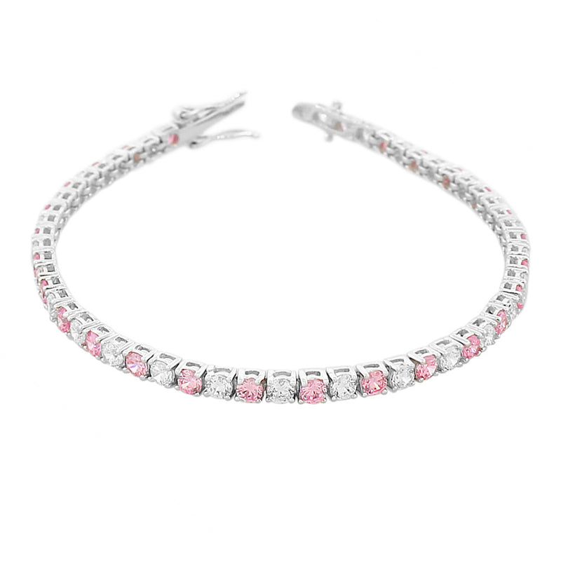 925 Sterling Silver Round White Pink CZ Classic Tennis Bracelet