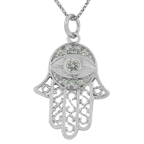 925 Sterling Silver Hamsa Evil Eye White Pendant Necklace with Chain