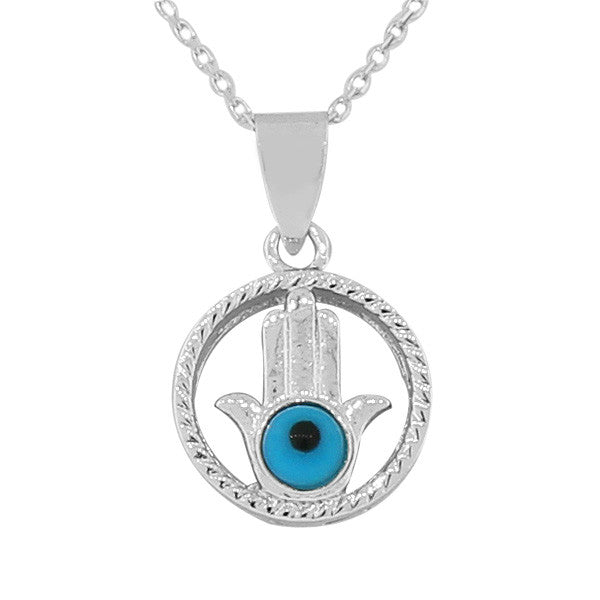 925 Sterling Silver Hamsa Blue Circle Evil Eye Pendant Necklace with Chain