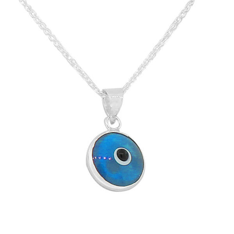 925 Sterling Silver Light Blue Glass Evil Eye Pendant Necklace with Chain