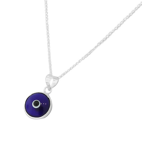 Evil Eye Blue Glass Sterling Silver Pendant Necklace