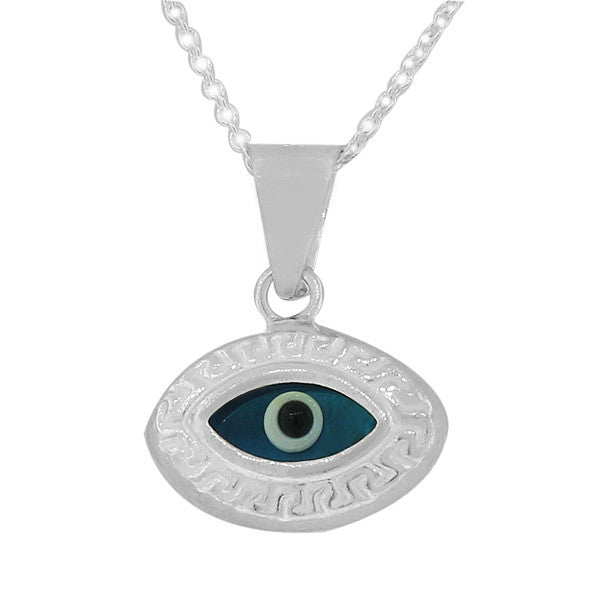 925 Sterling Silver Blue Greek Key Hamsa Evil Eye Pendant Necklace with Chain