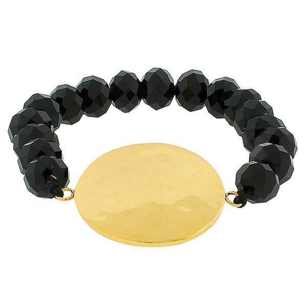 Stainless Steel Black Beads Round Hammered Finish Yellow Gold-Tone Beaded Stretch Bracelet