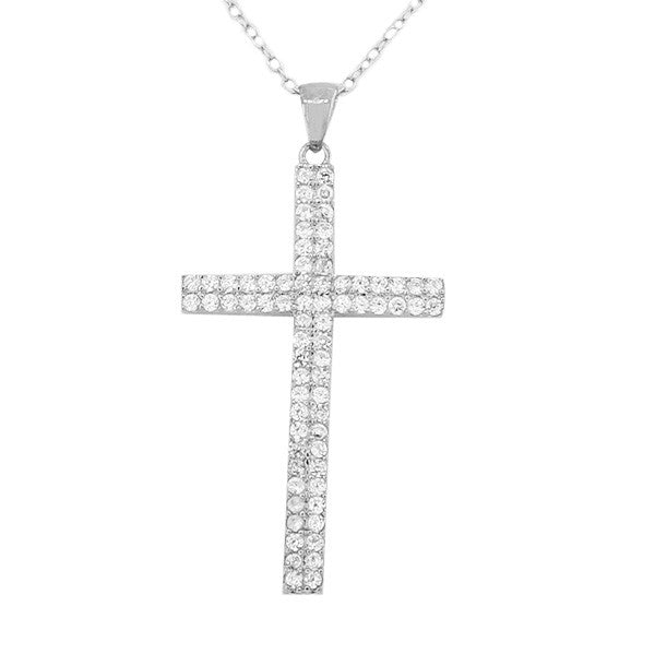 925 Sterling Silver Religious Cross White Pendant Necklace Chain