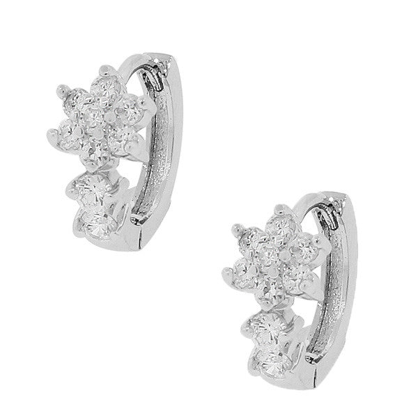 925 Sterling Silver White CZ Flowers Floral Hoop Huggie Earrings