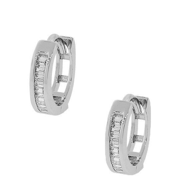 925 Sterling Silver White Baguette CZ Hoop Huggie Earrings