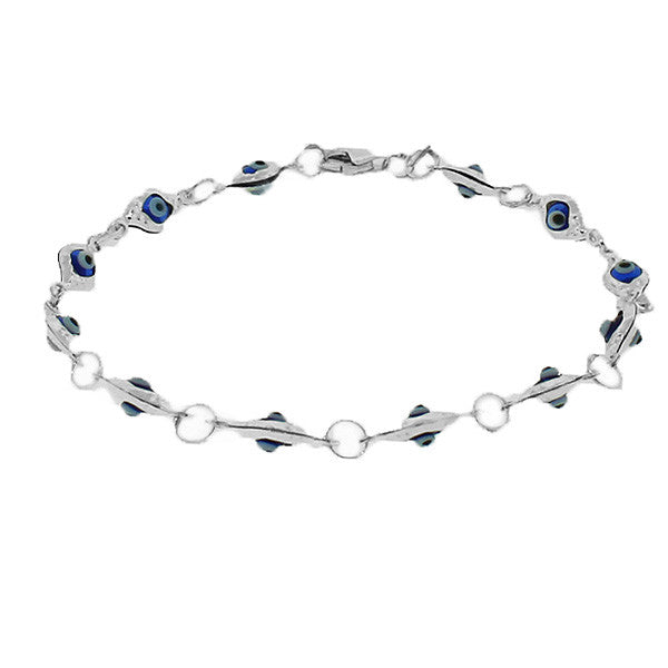 925 Sterling Silver Blue Evil Eye Hamsa Beaded Bracelet with Clasp