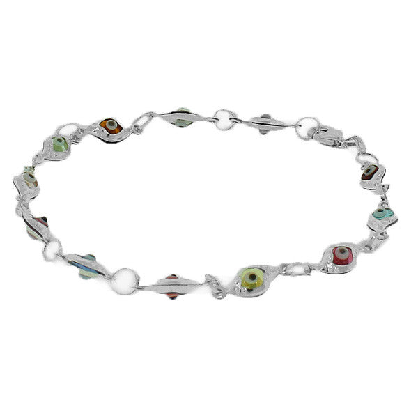 925 Sterling Silver Multicolor Evil Eye Hamsa Beaded Bracelet with Clasp