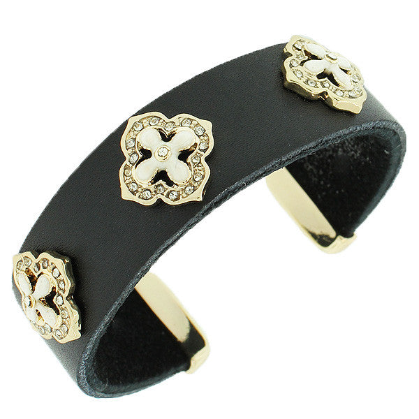 Fashion Alloy Black Leather Yellow Gold-Tone White CZ Open End Bracelet