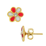 Fashion Alloy Yellow Gold-Tone White Pink Flower White CZ Stud Girls Earrings