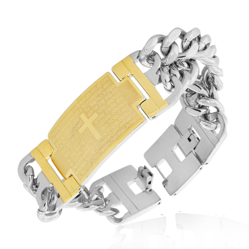 Stainless Steel Two-Tone Men's Religious Lord's Prayer Padre Nuestro Spanish Chain Bracelet
