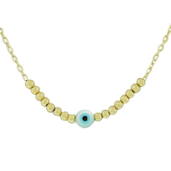 925 Sterling Silver Yellow Gold-Tone Evil Eye Pendant Necklace With Chain
