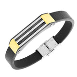 Stainless Steel Black Leather Two-Tone Twisted Cable Rope Men's Bracelet