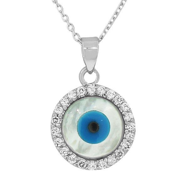 925 Sterling Silver Round White CZ Simulated Mother-of-Pearl Evil Eye Pendant Necklace