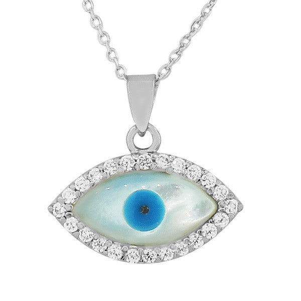 Sterling Silver White CZ Simulated Mother-of-Pearl Evil Eye Hamsa Pendant Necklace