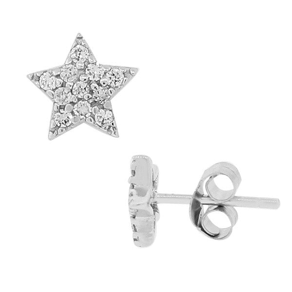 925 Sterling Silver White CZ Star Small Stud Earrings