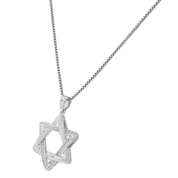 Filigree Style Star of David Necklace Pendant Sterling Silver