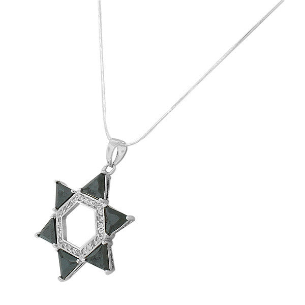 Black Trillion Cut Cubic Zirconia Star of David Necklace Pendant Sterling Silver