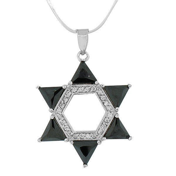 925 Sterling Silver Jewish Large Star David Black White Pendant Necklace