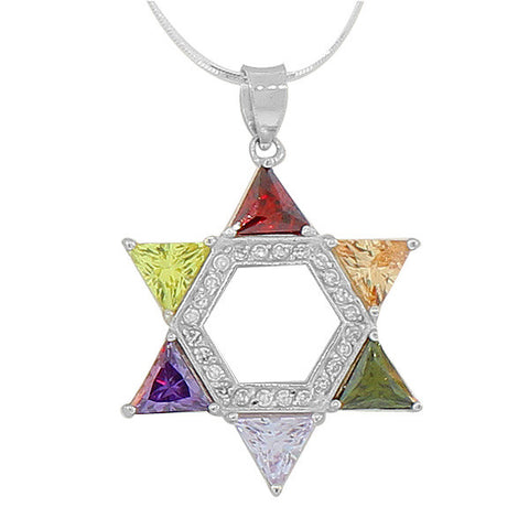 925 Sterling Silver Jewish Star of David Multicolor Pendant Necklace