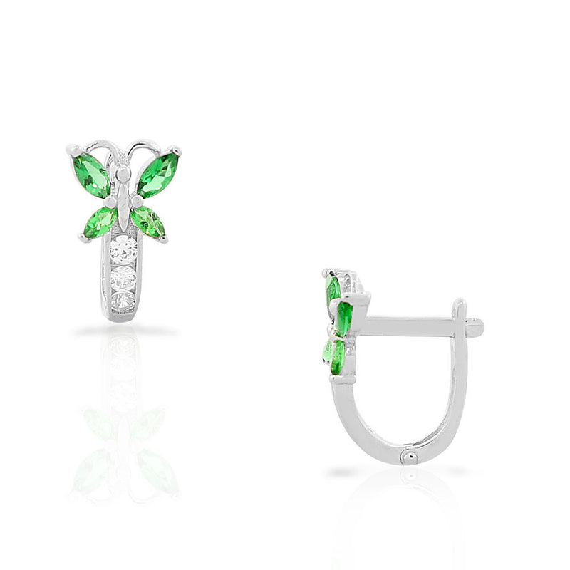 925 Sterling Silver White Green Emerald-Tone CZ Butterfly Hoop Huggie Girls Small Earrings
