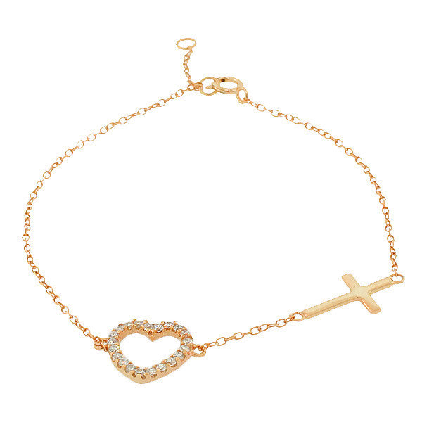 925 Sterling Silver Rose Gold-Tone Love Heart Cross Charm White CZ Link Chain Bracelet