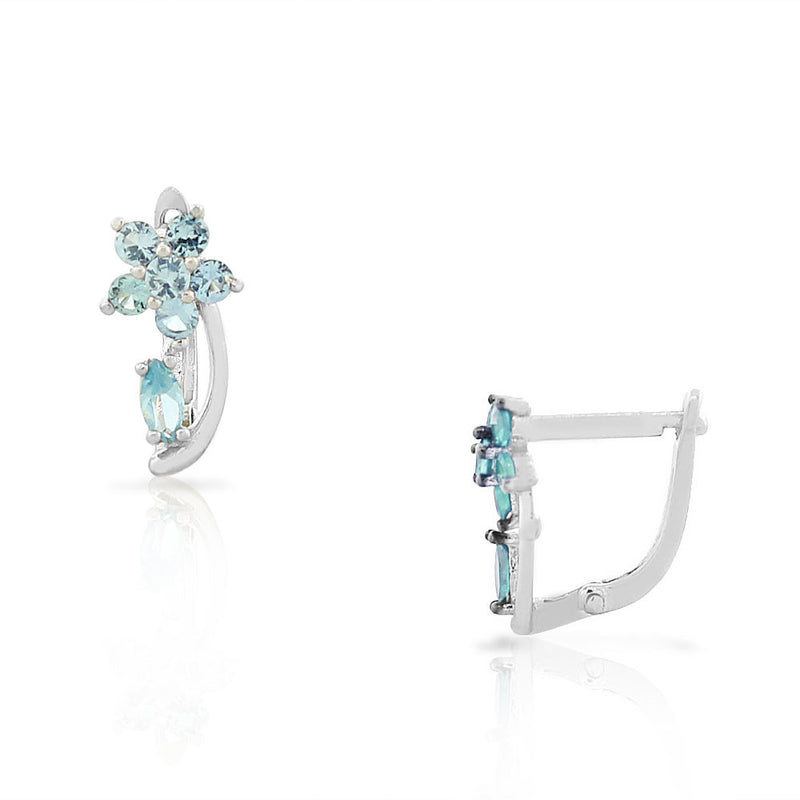 925 Sterling Silver Blue Aquamarine-Tone CZ Flower Hoop Huggie Small Earrings