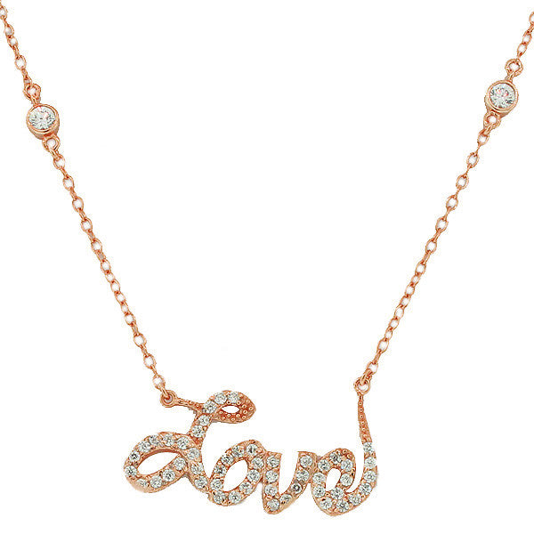 925 Sterling Silver Rose Gold-Tone Love Heart Charm White CZ Pendant Necklace