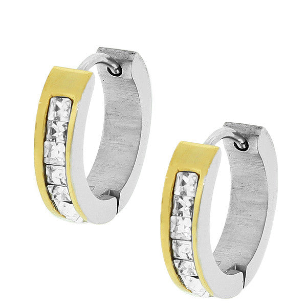 Stainless Steel Two-Tone White Princess CZ Hoop Huggie Earrings