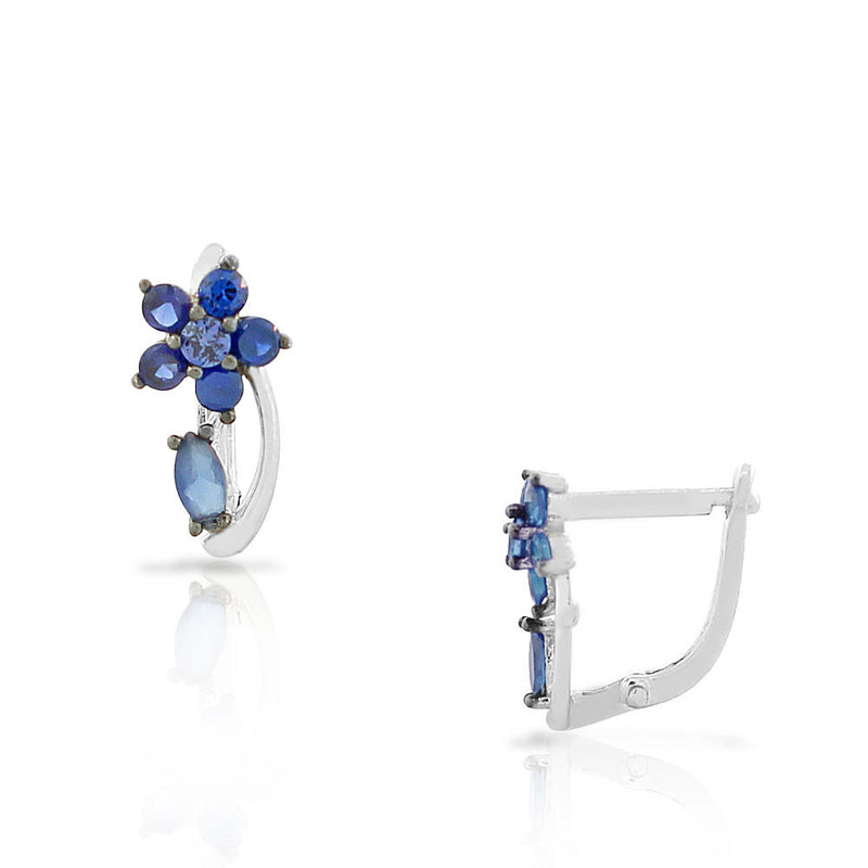 925 Sterling Silver Blue Sapphire-Tone CZ Flower Hoop Huggie Small Earrings