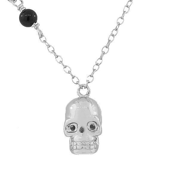 925 Sterling Silver Black CZ Skull Charm Pendant Necklace With Chain