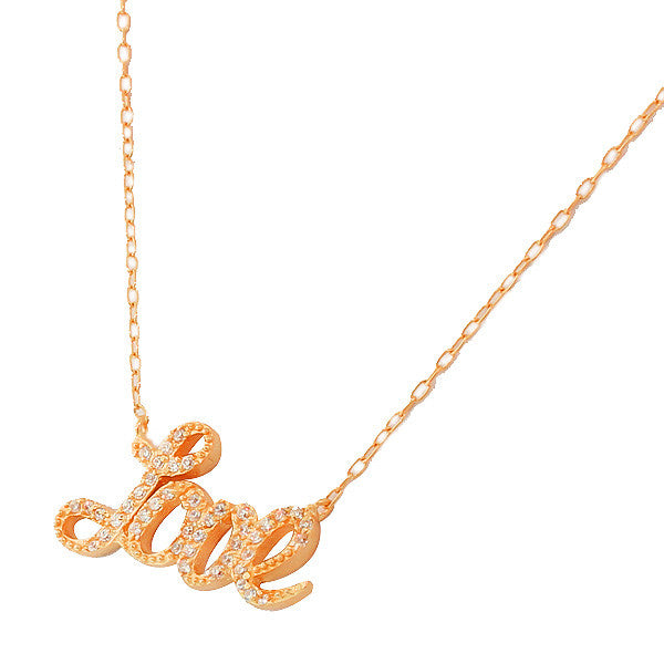 Rose Gold Cursive Love Necklace Pendant Sterling Silver