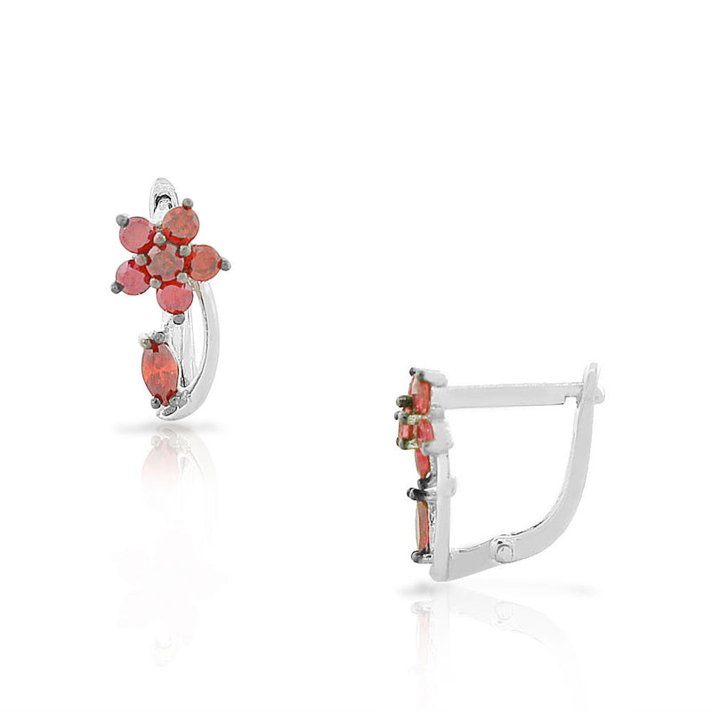 925 Sterling Silver Red Ruby-Tone CZ Flower Hoop Huggie Small Earrings