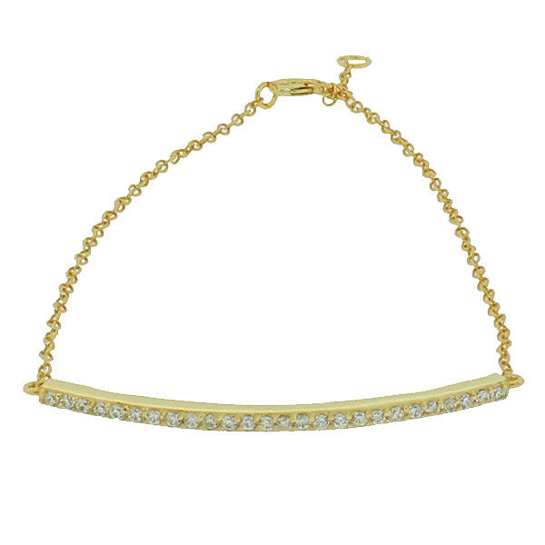 925 Sterling Silver Yellow Gold-Tone White CZ Arch Link Chain Bracelet