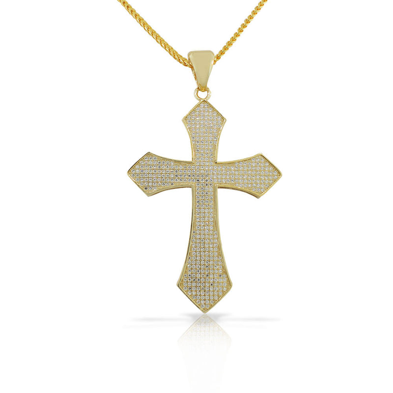 925 Sterling Silver Yellow Gold-Tone Large Hip-Hop CZ Latin Cross Religious Mens Pendant Necklace