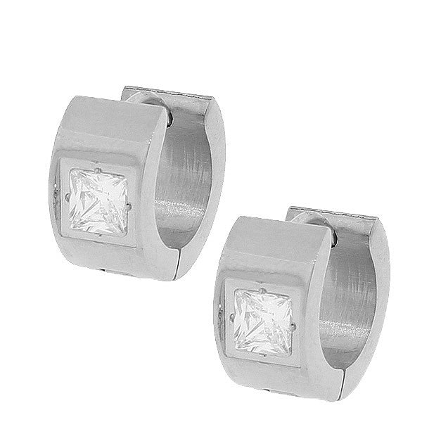 Stainless Steel Silver-Tone White Princess CZ Hoop Huggie Earrings