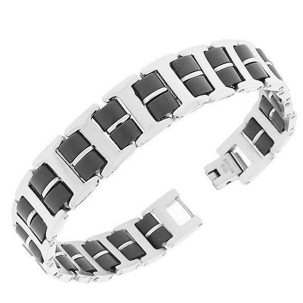 Stainless Steel Black Silver-Tone Link Chain Men's Bracelet