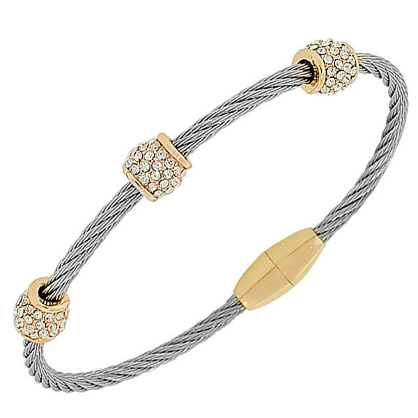 Fashion Alloy Two-Tone White CZ Twisted Cable Bangle Bracelet