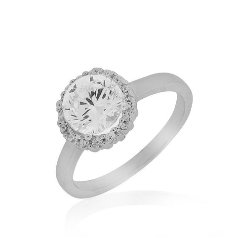 929 Sterling Silver White Clear Round CZ Engagement Statement Ring