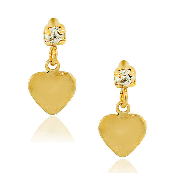 Stainless Steel Yellow Gold-Tone Love Heart White CZ Small Stud Dangle Earrings