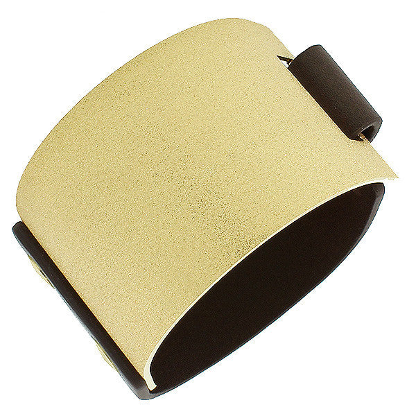 Stainless Steel Brown Leather Yellow Gold-Tone Glitter Wide Wristband Bracelet