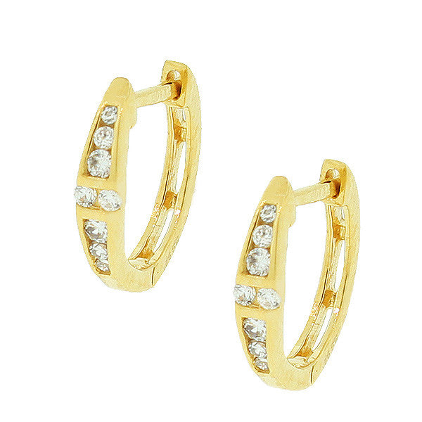 925 Sterling Silver Yellow Gold-Tone White CZ Small Hoop Huggie Earrings