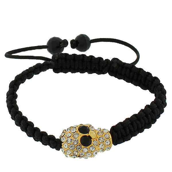 Fashion Alloy Yellow Gold-Tone Black White CZ Skull Beaded Adjustable Macrame Bracelet