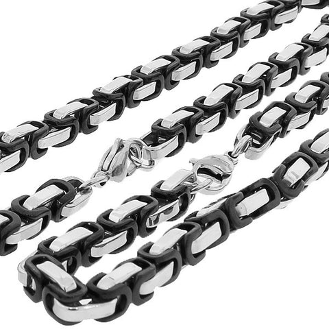 Stainless Steel Black Silver-Tone Men's Link Chain Necklace Bracelet Set