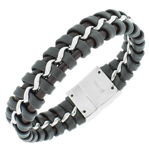 Stainless Steel Brown Leather Silver-Tone Braided Link Chain Men's Bracelet