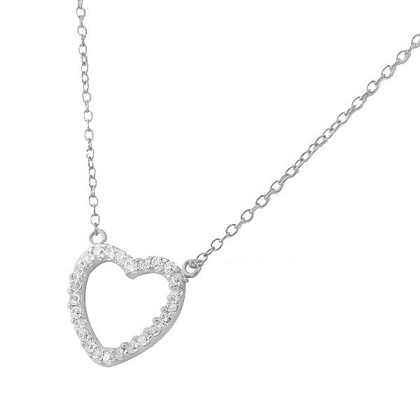 Classic Cubic Zirconia Heart Pendant Necklace Sterling Silver