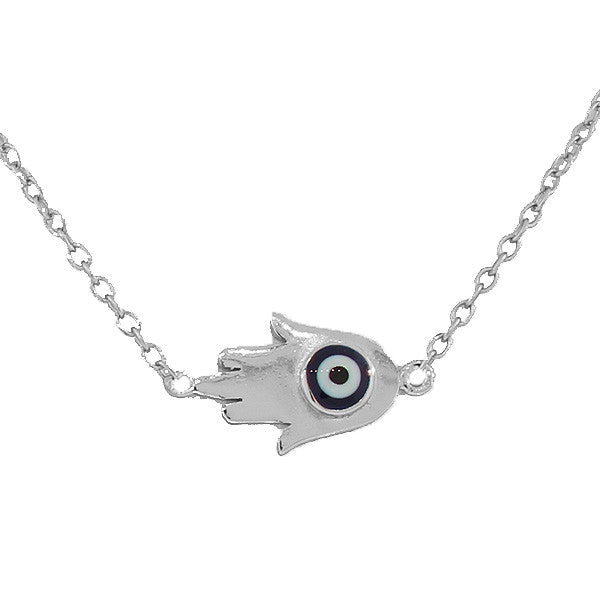 925 Sterling Silver Blue Hamsa Evil Eye Pendant Necklace With Chain