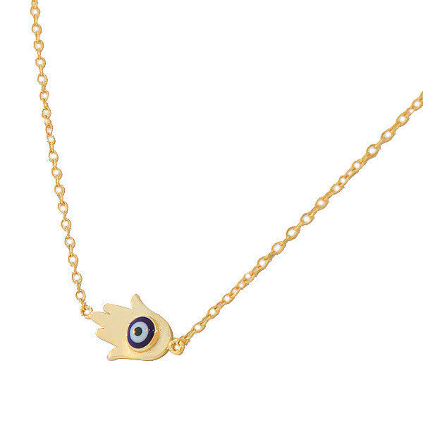 Yellow Gold Sideways Hamsa Evil Eye Necklace Pendant Sterling Silver